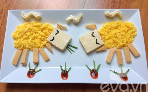 Trang trí món ăn hình cừu cho bé